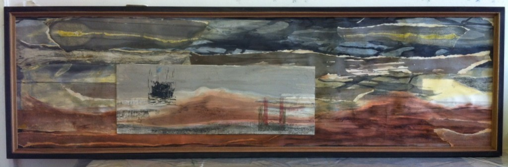 Oare Salt Marsh 2, woodcut on mixed media collage