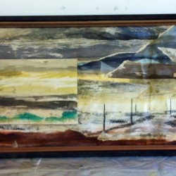 Oare Salt Marsh 1, woodcut on mixed media collage