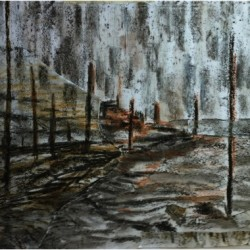Track to the Estuary, ink, wax and torn paper